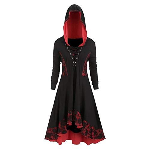 Auifor Damesmode Gothic Style jurk lange mouwen Lace Up jurk zoom vintage jurk