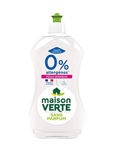MAISON VERTE - Liquide Vaisselle 0%   Hypoallergénique   Dégraissant et Écologique   Idéal Peaux Sensibles   Produit Vaisselle Sans Parfum   Certifié Ecolabel   Fabriqué en France   Flacon 500 ml