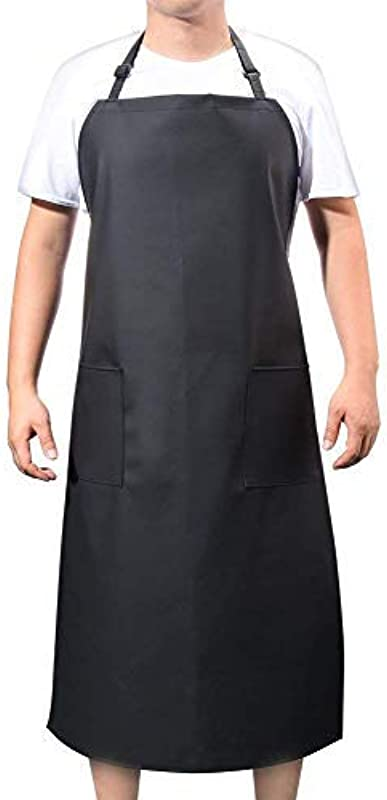 VWELL Rubber Vinyl Waterproof Apron With 2 Pockets Long Chemical Resist Cooking Aprons For Men Women Chef Adjustable Bib Black Apron For Dishwashing Butcher Dog Grooming Cleaning Fish