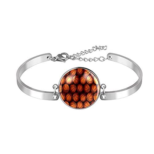 Pulseras para mujeres y niñas de acero inoxidable Dainty Link pulsera ajustable brazalete deportivo baloncesto patrón naranja