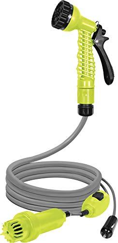 Lund 12V elektrischer Camping-Gartenschlauch mit Tauchpumpe, KFZ-Adapter, Multifunktionsbrause – Leistung: 20 l/min, 60 Watt, Mobile Dusche