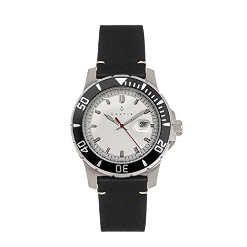 Nautis Dive Pro 200 - Reloj de pulsera de piel con fecha, Negro/Plata/Blanco/Negro SKU: GL1909-B,