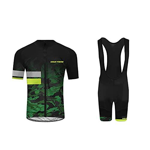 BurningBikewear Hombres Jersey + Pantalones Cortos Mangas Co