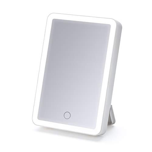 "iHome Beauty Vanity Mirror with Bluetooth Audio, USB Charging, LED Lighting, Siri& Google Support (White, 6"" x 8"")"