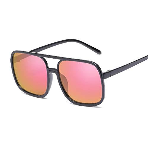 NJJX Gafas De Sol Rosadas A La Moda Para Mujer, Gafas De Sol Cuadradas Para Mujer, Vintage, Marco Grande, Espejo, Rosa, Mercurio