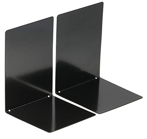 Officemate Heavy Duty Bookends for Shelves, Office, School & HomeMetal Book End & StopperAnti Scratch & Non SlipDecorative Book Dividers for DesksPerfect Bookworms GiftSet of 2Black