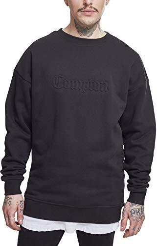 Mister Tee Herren Embossed Compton Crewneck Sweatshirt, Black, S