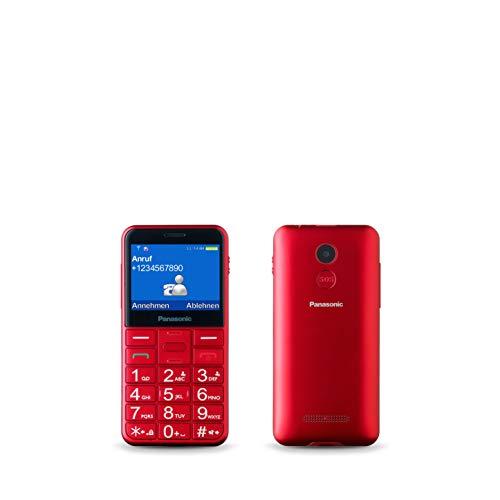 Panasonic KX-TU150EXR Seniorenhandy (SOS Taste, Dual-SIM, Kamera 0,3 MP, Radio, Taschenlampenfunktion, große Tasten) rot