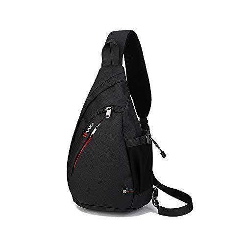 Boss Bag Outdoors Rijden Katoen Heren Borst Pack Textuur Diagonale Driehoek Tas Borstzak Fietstas Drop (Kleur: ZWART, Maat : M)