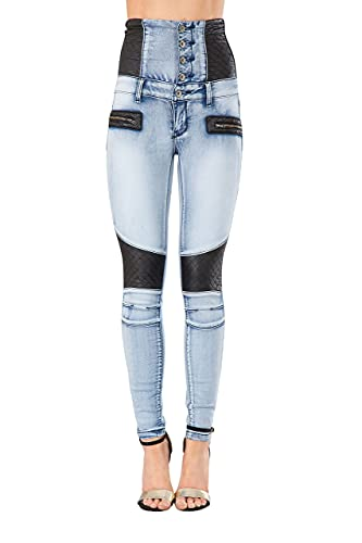 Glook Mujer Pantalones Vaquero Skinny Push Up Pantalones Elástico Jeans Cintura Alta (40, Azul 4)