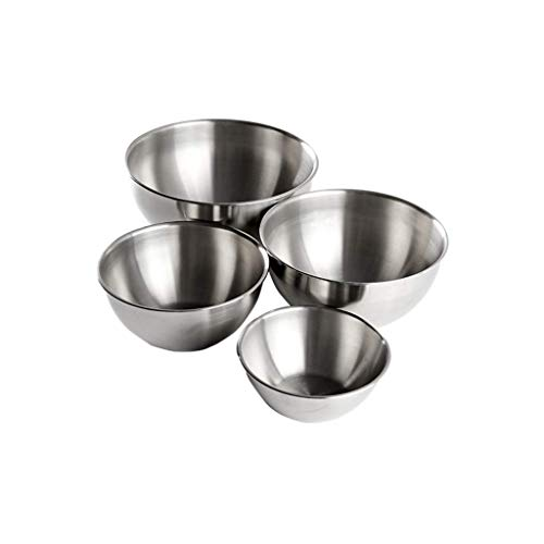 YANXUAN Stainless Steel Mixing Bowls - Set of 4 Nesting Bowls for Space Saving Storage, Sturdy Bowls for Cooking, Baking, Prepping, Easy To Clean, Kitchen Food Storage Organizers