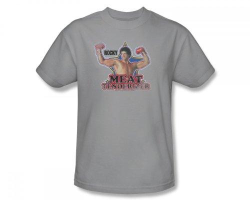 Rocky - Fleischklopfer Slim Fit Adult T-Shirt in Silber, XX-Large, Silver