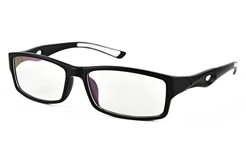 Beison Sports Optical Eyeglasses Frame Plain Glasses Clear Lens UV400 (Matte black, 53mm)
