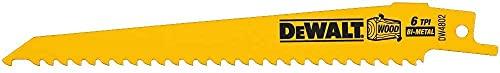 DEWALT Reciprocating Saw Blades, Taper Back, 6-Inch, 6 TPI, 5-Pack (DW4802)