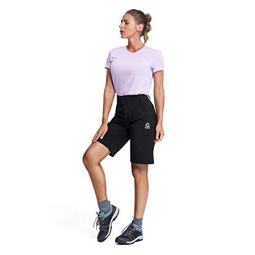 Gonex Damen Shorts Schnelltrockend, Atmungsaktive und leichte Kurze Hose mit elastischem Stoff, Cargo Shorts Wanderhose Sportshorts für Jogging, Gamping, Tranning und Alltagskleidung, Schwarz