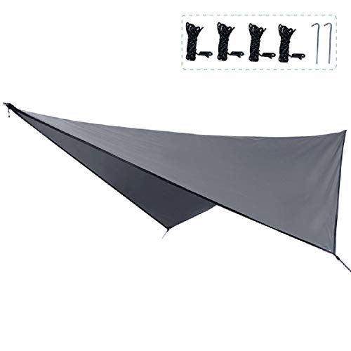 TRIWONDER Camping Tarp Cover Waterproof Rain Fly Tent Ground Cloth Footprint Hammock Shelter for Outdoor Hiking Picnic Beach (Grey+Accessories)
