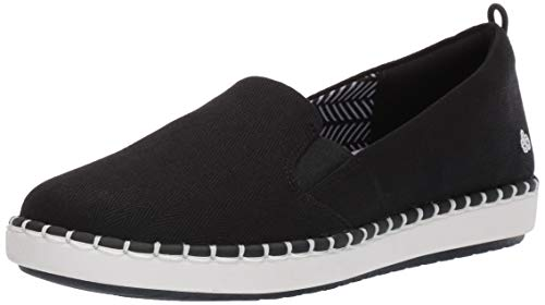 Clarks womens Step Glow Slip Loafer Flat, Black Canvas, 7.5 US