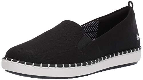 Clarks Women's Step Glow Slip Loafer Flat, Black Canvas, 10 Wide