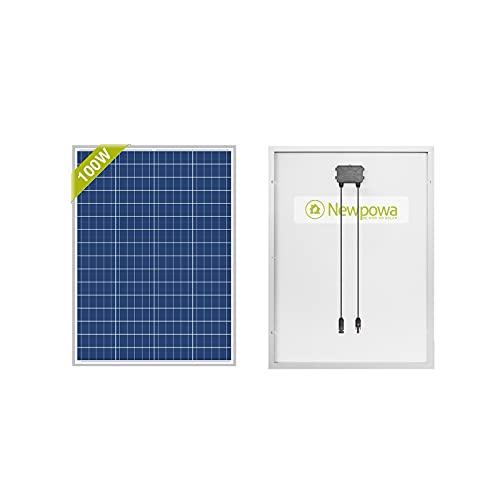 Newpowa, pannello solare, 100 W (Watt), 12 V (Volt), policristallino, ad alta efficienza, fotovoltaico, in policarbonato, per camper, case, giardino, barche