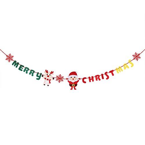 Pancarta para Navidad OULII guirnalda 3m con letras Merry Christmas Papá Noel Navidad Reno y copos de nieve para...