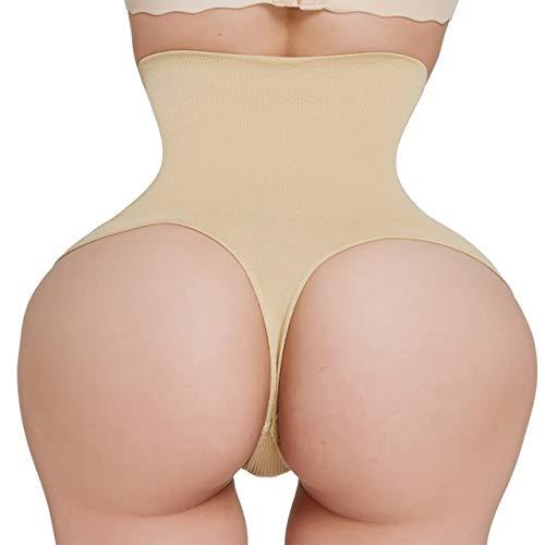 Xiaobing High waist belly slimming pants ladies thong sports pants hip shaping underwear -beige-S(waist 61cm-66cm)