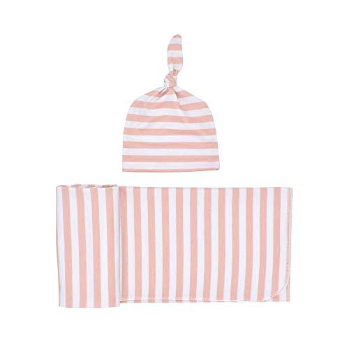 2 STKS pasgeboren baby gestreepte Swaddle deken met hoed baby ziekenhuis katoen zachte deken slaapzak Wikkel Set voor pasgeboren meisje en jongen, geweldig voor thuis of ziekenhuis 31.50'' * 31.50'' roze