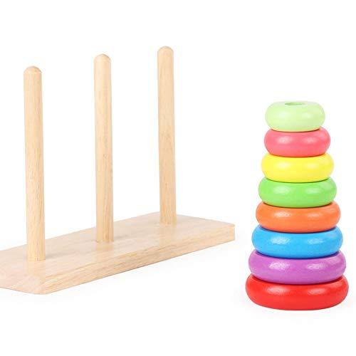 N / C Juego de Juguetes de Pilar, Torre arcoíris de Hanoi Pintada, Juguetes educativos de Madera para niños, Ejercicio de flexibilidad y dominio de Las Manos