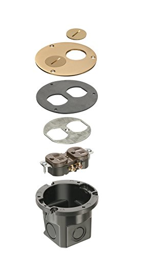 Arlington Industries Arlington FLB3520MB-1 Round Cut Box Kit Cover and Threaded Plugs, for Installed Floors, 1-Gang, Metallic Brass, 1-Pack