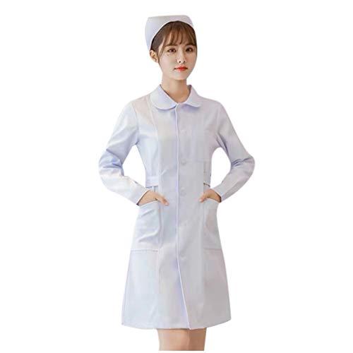 Deloito Slim-Fit Overalls für Damen Langarm Puppenkragen Arzt Kostüm Krankenschwester Mantel Healthcare Tunika Tops Maid Pflegekräfte Zahnarzt Uniform (Weiß-01, L)