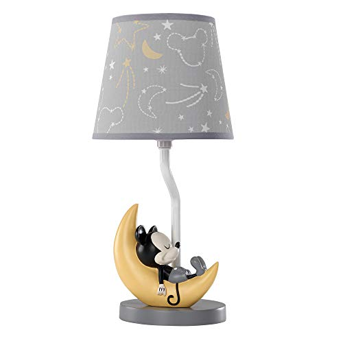 Lambs & Ivy Disney Baby Mickey Mouse Lamp with Shade & Bulb, Gray/Yellow