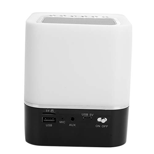 Altavoz Bluetooth inalámbrico, luces nocturnas con altavoz Bluetooth, reloj portátil con luz colorida LED, para tarjeta de memoria AUX USB, con pantalla de alta transmisión de luz, multifuncional