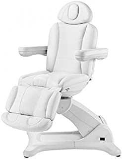 Radi+ Fully Electric 4 Motor Treatment Chair with 240 Degree Bed Rotation Extendable Footrest Removable Arms USA Salon and Spa 2246B (White)