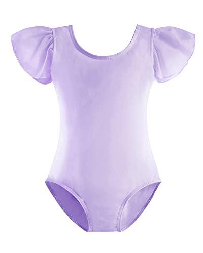 Stelle Girls Ruffle Short Sleeve Ballet Leotard Dress for Dance (Purple, 100)