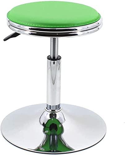 Taburete de bar, taburete de bar, silla redonda, giratoria, barra de elevación hidráulica, ajuste simple, estilo simple, material de cuero, rotación de 360 °, 6 colores (color negro), color verde