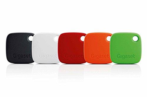 Gigaset G-tag Beacon im Set mit Appfunktion - Bluetooth Schlüsselfinder zum einfachen Auffinden von Schlüssel, Taschen, Koffern, Handys - Key Tracker – 5 Stück rot, orange, grün, schwarz, weiß