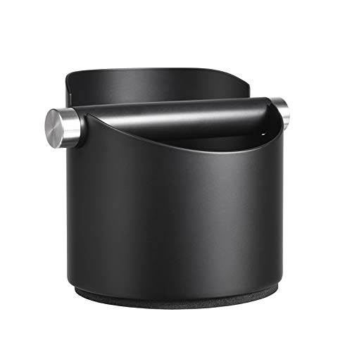 Coffee Knock Box, SANTOW Black Espresso Knock Box with Removable Knock Bar and Non-Slip Base – Dishwasher Safe, Stainless Steel Construction, Small Size