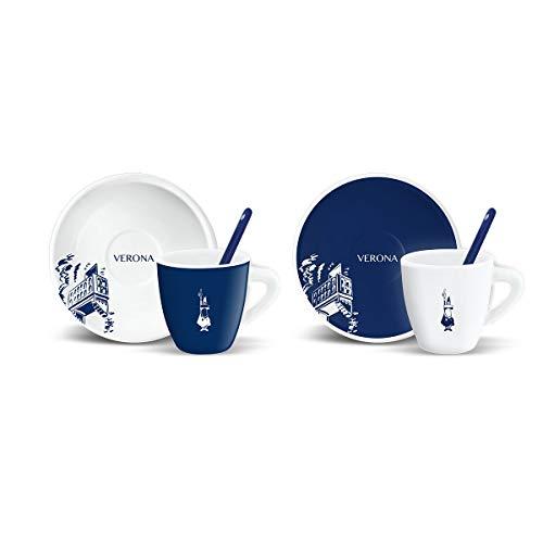 Bialetti - Set 2 tazzine caffè + piattini e Palette Decoro Verona 2015