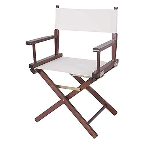 FGJMYB Campingstuhl, Regiestuhl, Massivholz, Outdoor, Freizeit, tragbar, Klappstuhl, Computerstuhl, Rückenlehne aus Leinen, Make-up-Stuhl (Farbe: Weiß)