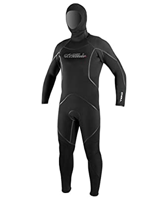 O'Neill Men's Dive J-Type 7mm Back Zip Full Wetsuit with Hood, Black, Large