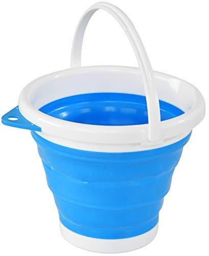 """HOME-X Collapsible Bucket, Portable Bucket for Cleaning, Plastic Bucket for Outdoor or Indoor Use, 10' D x 8 ½"""" H, 1.3 Gallon Capacity, Blue/White"""