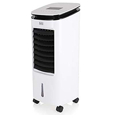 BLACK+DECKER BXAC65002GB Digital Air Cooler, Humidifier and Cooling Fan, 3 Speed Settings with 7 Litre Water Tank, LED Display with Soft Touch Controls and 7.5 Hour Timer, Remote Control 65 W, White