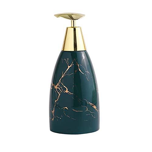 Cerámico Dispensador de Jabón de Cerámica Baño Nórdico Botella de Ducha Botella De Cocina Baño 470ml acero inoxidable (Color : Dark green)