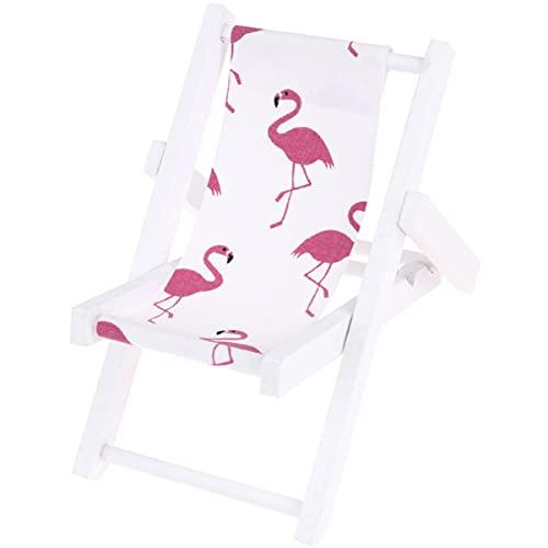 IMIKEYA Mini Liegestuhl Deko Holz Handyhalter Flamingos Muster Miniatur Strand Stuhl Puppenliegestuhl Klappstuhl Mini Stranddekoration für DIY Puppenhaus Möbel Mikro Landschaft