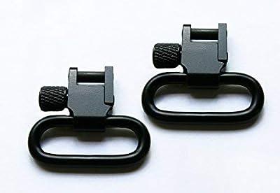 Detroit Leather Shop Pair of Black 1 Inch Tri-Lock Rifle Sling Swivels