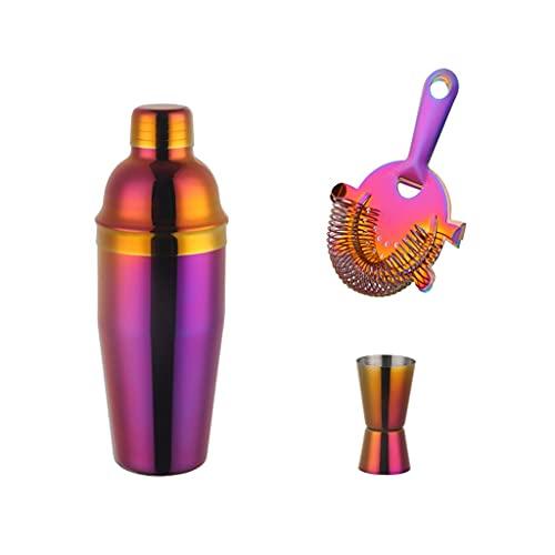 SHYOD 3 Unids Acero Inoxidable Arco Iris Boston Cóctel Conjunto 750ml Cóctel Agitador Conjunto con Colador Mida Cup Bartender Kit De La Barra Juego De Herramientas (Color : B)