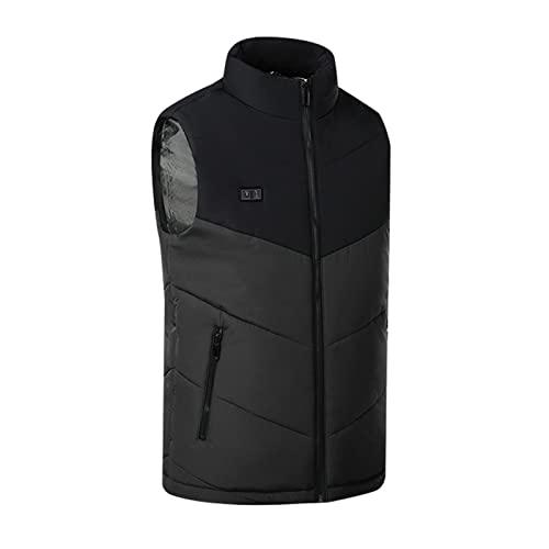 BGUK Chaleco calefactable para hombre y mujer, chaleco de invierno calefactable, por USB, chaleco eléctrico de invierno lavable (no portátil cargador), Negro , XXL