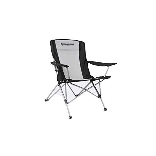 ZRJ Sillas de camping portátil plegable cuádruple silla plegable grande al aire libre con reposabrazos, soporte de taza y bolsa de transporte y almacenamiento sillas plegables (color negro)