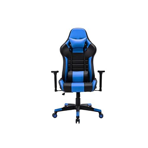 BKWJ Silla de Juego de computadora, Silla de Escritorio de sillas de Oficina, Silla de Cuero de Silla de videojuega cómoda giratoria (Color : Blue)