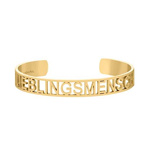BE SOULFUL Armreif für Damen - Statement Armband in gold - rosegold - silber - Armspange für den Lieblingsmensch (LIEBLINGSMENSCH - GOLD)