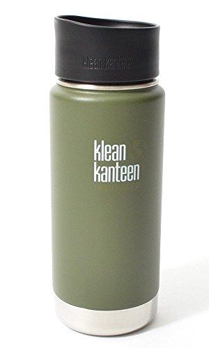 Klean Kanteen Erwachsene Wide Vakuumisoliert mit Cafe Cap 2.0 Trinkflasche, Fresh Pine Matt, S